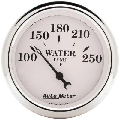 "Instrument Panel - Engine Coolant Temperature Gauge - AutoMeter - GAUGE, WATER TEMP, 2 1/16"", 250?F, ELEC, OLD TYME WHITE - 1638"