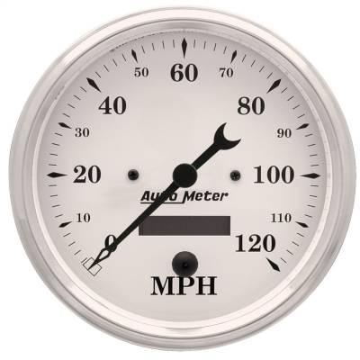 "Instrument Panel - Speedometer Gauge - AutoMeter - GAUGE, SPEEDO., 5"", 120MPH, ELEC. PROG. W/ LCD ODO, OLD TYME WHITE - 1689"