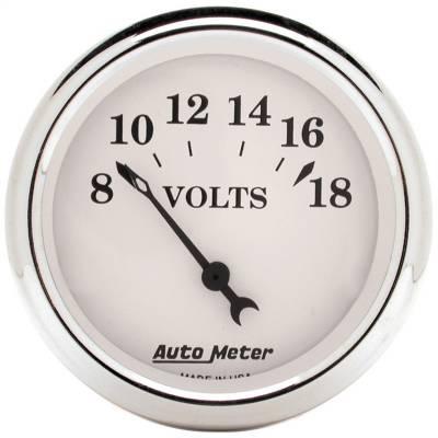 """Instrument Panel - Voltmeter Gauge - AutoMeter - GAUGE, VOLTMETER, 2 1/16"""", 18V, ELEC, OLD TYME WHITE - 1692"""