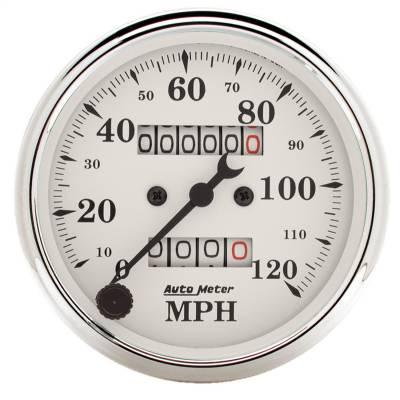 "Instrument Panel - Speedometer Gauge - AutoMeter - GAUGE, SPEEDOMETER, 3 1/8"", 120MPH, MECHANICAL, OLD TYME WHITE - 1693"