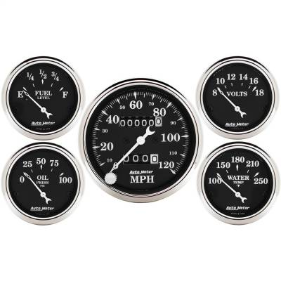 "AutoMeter - GAUGE KIT, 5 PC., 3 1/8"" & 2 1/16"", MECH. SPEEDOMETER, OLD TYME BLACK - 1708"