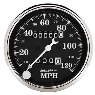 """Instrument Panel - Speedometer Gauge - AutoMeter - GAUGE, SPEEDO., 3 1/8"""", 120MPH, MECHANICAL, OLD TYME BLK - 1796"""