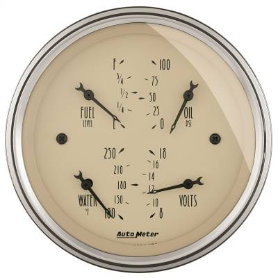 "Instrument Panel - Electronic Multi Purpose Gauge - AutoMeter - GAUGE, QUAD, 3 3/8"", 0OE-90OF, ELEC, ANTIQUE BEIGE - 1814"