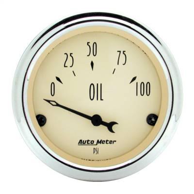 "Instrument Panel - Engine Oil Pressure Gauge - AutoMeter - GAUGE, OIL PRESS, 2 1/16"", 100PSI, ELEC, ANTIQUE BEIGE - 1827"