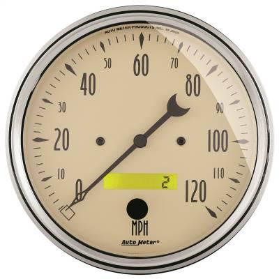 """Instrument Panel - Speedometer Gauge - AutoMeter - GAUGE, SPEEDOMETER, 5"""", 120MPH, ELEC. PROG. W/ LCD ODO, ANTIQUE BEIGE - 1889"""