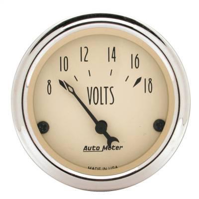 """Instrument Panel - Voltmeter Gauge - AutoMeter - GAUGE, VOLTMETER, 2 1/16"""", 18V, ELEC, ANTIQUE BEIGE - 1891"""