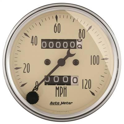 """Instrument Panel - Speedometer Gauge - AutoMeter - GAUGE, SPEEDOMETER, 3 1/8"""", 120MPH, MECHANICAL, ANTIQUE BEIGE - 1896"""