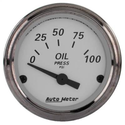 "Instrument Panel - Engine Oil Pressure Gauge - AutoMeter - GAUGE, OIL PRESS, 2 1/16"", 100PSI, ELEC, AMERICAN PLATINUM - 1928"