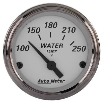 """Instrument Panel - Engine Coolant Temperature Gauge - AutoMeter - GAUGE, WATER TEMP, 2 1/16"""", 250?F, ELEC, AMERICAN PLATINUM - 1938"""
