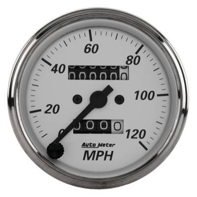 "Instrument Panel - Speedometer Gauge - AutoMeter - GAUGE, SPEEDOMETER, 3 1/8"", 120MPH, MECHANICAL, AMERICAN PLATINUM - 1993"