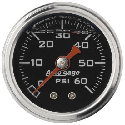"Dashboard - Dashboard Panel Overlay - AutoMeter - GAUGE, PRESSURE, 1.5"" DIRECT MNT, 60PSI, LIQUID FILLED MECH, BLK, 1/8"" NPTF MALE - 2173"