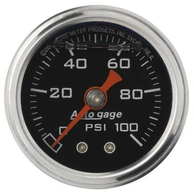 "Dashboard - Dashboard Panel Overlay - AutoMeter - GAUGE, PRESS, 1.5"" DIRECT MNT, 100PSI, LIQUID FILLED MECH, BLK, 1/8"" NPTF MALE - 2174"
