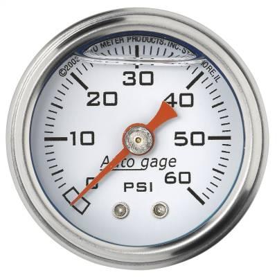 "Dashboard - Dashboard Panel Overlay - AutoMeter - GAUGE, PRESSURE, 1.5"" DIRECT MNT, 60PSI, LIQUID FILLED MECH, WHT, 1/8"" NPTF MALE - 2176"