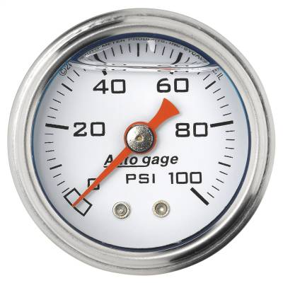 """Dashboard - Dashboard Panel Overlay - AutoMeter - GAUGE, PRESS, 1.5"""" DIRECT MNT, 100PSI, LIQUID FILLED MECH, WHT, 1/8"""" NPTF MALE - 2177"""