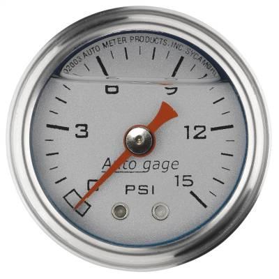 "Dashboard - Dashboard Panel Overlay - AutoMeter - GAUGE, PRESS, 1.5"" DIRECT MNT, 15PSI, LIQUID FILLED MECH, SLVR, 1/8"" NPTF MALE - 2178"