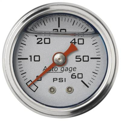 "Dashboard - Dashboard Panel Overlay - AutoMeter - GAUGE, PRESS, 1.5"" DIRECT MNT, 60PSI, LIQUID FILLED MECH, SLVR, 1/8"" NPTF MALE - 2179"