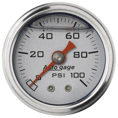 "Dashboard - Dashboard Panel Overlay - AutoMeter - GAUGE, PRESS, 1.5"" DIRECT MNT, 100PSI, LIQUID FILLED MECH, SLVR, 1/8"" NPTF MALE - 2180"