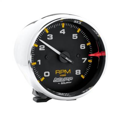 """Instrument Panel - Tachometer Gauge - AutoMeter - GAUGE, TACH, 3 3/4"""", 8K RPM, PEDESTAL, BLK DIAL CHROME CASE, AUTOGAGE - 2301"""