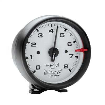 """Instrument Panel - Tachometer Gauge - AutoMeter - GAUGE, TACH, 3 3/4"""", 8K RPM, PEDESTAL, WHT DIAL BLK CASE, AUTOGAGE - 2303"""