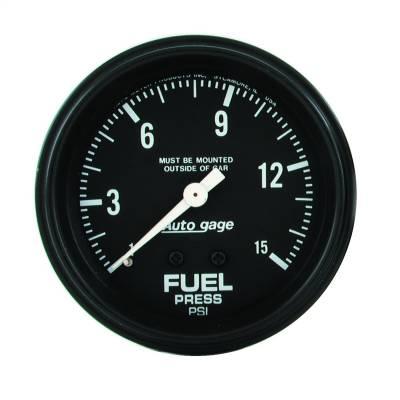 "Instrument Panel - Fuel Pressure Gauge - AutoMeter - GAUGE, FUEL PRESSURE, 2 5/8"" 0-15PSI, MECHANICAL, BLACK, AUTOGAGE - 2311"