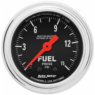 "Instrument Panel - Fuel Pressure Gauge - AutoMeter - GAUGE, FUEL PRESSURE, 2 1/16"", 15PSI, MECHANICAL, TRADITIONAL CHROME - 2411"