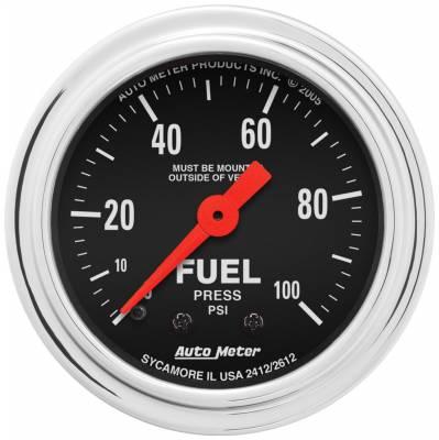 "Instrument Panel - Fuel Pressure Gauge - AutoMeter - GAUGE, FUEL PRESSURE, 2 1/16"", 100PSI, MECHANICAL, TRADITIONAL CHROME - 2412"