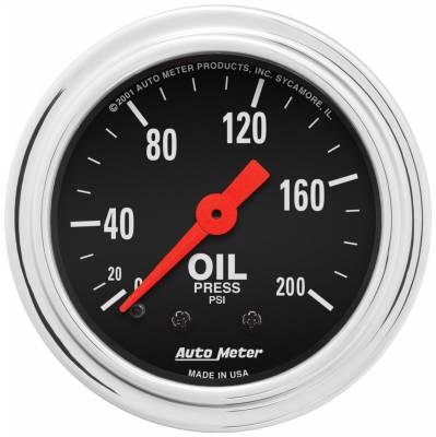 "Instrument Panel - Engine Oil Pressure Gauge - AutoMeter - GAUGE, OIL PRESSURE, 2 1/16"", 200PSI, MECHANICAL, TRADITIONAL CHROME - 2422"