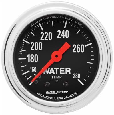 "Instrument Panel - Engine Coolant Temperature Gauge - AutoMeter - GAUGE, WATER TEMP, 2 1/16"", 140-280?F, MECHANICAL, TRADITIONAL CHROME - 2431"