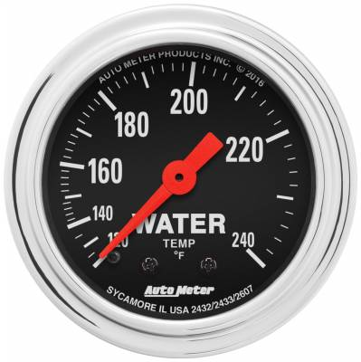 """Instrument Panel - Engine Coolant Temperature Gauge - AutoMeter - GAUGE, WATER TEMP, 2 1/16"""", 120-240?F, MECHANICAL, 12FT., TRADITIONAL CHROME - 2433"""