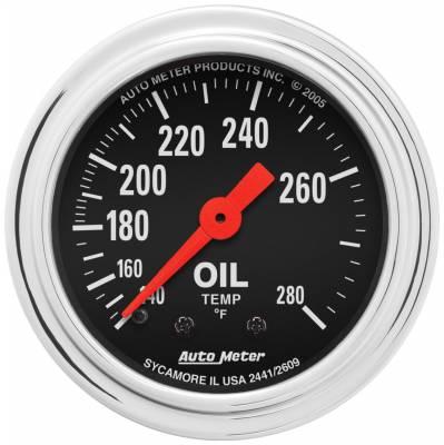 "Instrument Panel - Engine Oil Temperature Gauge - AutoMeter - GAUGE, OIL TEMP, 2 1/16"", 140-280?F, MECHANICAL, TRADITIONAL CHROME - 2441"