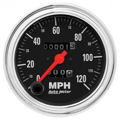 "Instrument Panel - Speedometer Gauge - AutoMeter - GAUGE, SPEEDOMETER, 3 3/8"", 120MPH, MECHANICAL, TRADITIONAL CHROME - 2492"