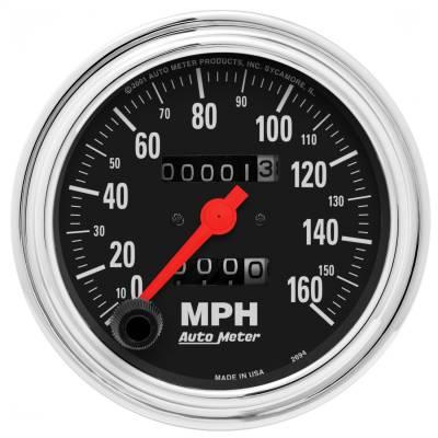 "Instrument Panel - Speedometer Gauge - AutoMeter - GAUGE, SPEEDOMETER, 3 3/8"", 160MPH, MECHANICAL, TRADITIONAL CHROME - 2494"