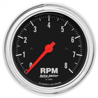 "Instrument Panel - Tachometer Gauge - AutoMeter - GAUGE, TACHOMETER, 3 3/8"", 8K RPM, IN-DASH, TRADITIONAL CHROME - 2499"