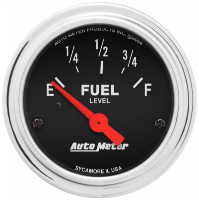 "Instrument Panel - Fuel Level Gauge - AutoMeter - GAUGE, FUEL LEVEL, 2 1/16"", 0OE TO 90OF, ELEC, TRADITIONAL CHROME - 2514"