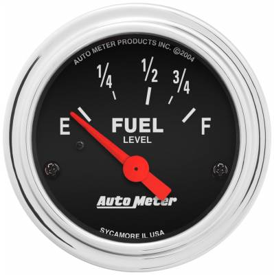 "Instrument Panel - Fuel Level Gauge - AutoMeter - GAUGE, FUEL LEVEL, 2 1/16"", 73OE TO 10OF, ELEC, TRADITIONAL CHROME - 2515"