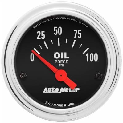 "Instrument Panel - Engine Oil Pressure Gauge - AutoMeter - GAUGE, OIL PRESSURE, 2 1/16"", 100PSI, ELECTRIC, TRADITIONAL CHROME - 2522"
