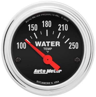 """Instrument Panel - Engine Coolant Temperature Gauge - AutoMeter - GAUGE, WATER TEMP, 2 1/16"""", 100-250?F, ELECTRIC, TRADITIONAL CHROME - 2532"""
