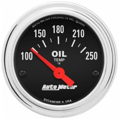"Instrument Panel - Engine Oil Temperature Gauge - AutoMeter - GAUGE, OIL TEMP, 2 1/16"", 100-250?F, ELECTRIC, TRADITIONAL CHROME - 2542"