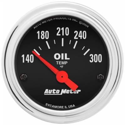 "Instrument Panel - Engine Oil Temperature Gauge - AutoMeter - GAUGE, OIL TEMP, 2 1/16"", 140-300?F, ELECTRIC, TRADITIONAL CHROME - 2543"