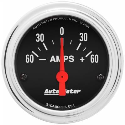 "Instrument Panel - Ammeter Gauge - AutoMeter - GAUGE, AMMETER, 2 1/16"", 60A, ELECTRIC, TRADITIONAL CHROME - 2586"