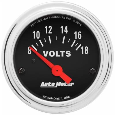 """Instrument Panel - Voltmeter Gauge - AutoMeter - GAUGE, VOLTMETER, 2 1/16"""", 18V, ELEC, TRADITIONAL CHROME - 2592"""