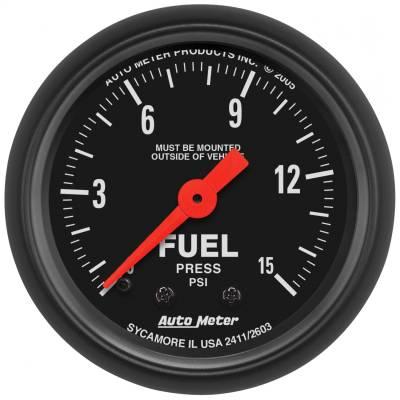 "Instrument Panel - Fuel Pressure Gauge - AutoMeter - GAUGE, FUEL PRESS, 2 1/16"", 15PSI, MECHANICAL, Z-SERIES - 2603"