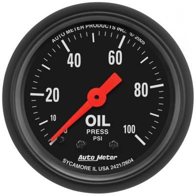 "Instrument Panel - Engine Oil Pressure Gauge - AutoMeter - GAUGE, OIL PRESS, 2 1/16"", 100PSI, MECHANICAL, Z-SERIES - 2604"