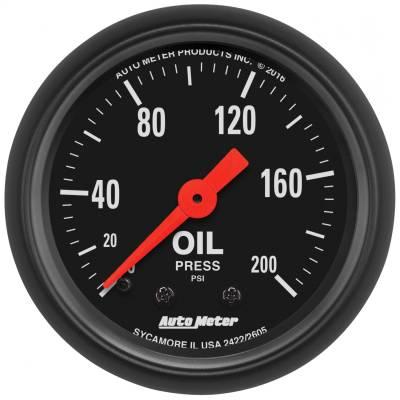 "Instrument Panel - Engine Oil Pressure Gauge - AutoMeter - GAUGE, OIL PRESS, 2 1/16"", 200PSI, MECHANICAL, Z-SERIES - 2605"