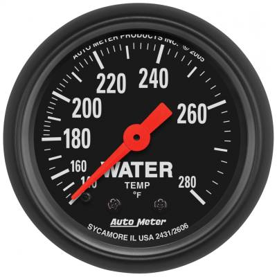 "Instrument Panel - Engine Coolant Temperature Gauge - AutoMeter - GAUGE, WATER TEMP, 2 1/16"", 140-280?F, MECHANICAL, Z-SERIES - 2606"