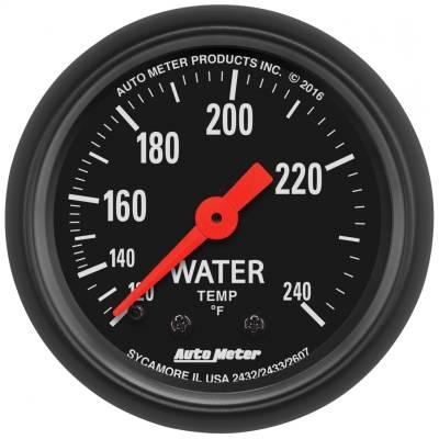"Instrument Panel - Engine Coolant Temperature Gauge - AutoMeter - GAUGE, WATER TEMP, 2 1/16"", 120-240?F, MECHANICAL, Z-SERIES - 2607"
