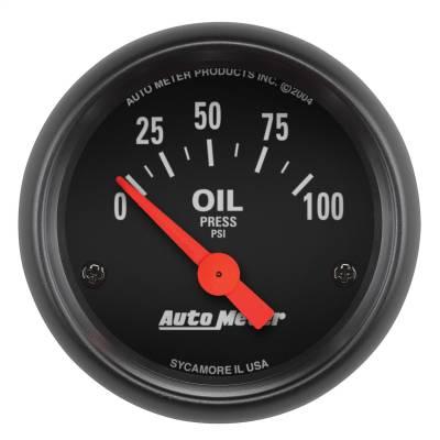 "Instrument Panel - Engine Oil Pressure Gauge - AutoMeter - GAUGE, OIL PRESSURE, 2 1/16"", 100PSI, ELECTRIC, Z-SERIES - 2634"
