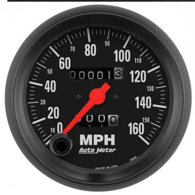 """Instrument Panel - Speedometer Gauge - AutoMeter - GAUGE, SPEEDOMETER, 3 3/8"""", 160MPH, MECHANICAL, Z-SERIES - 2694"""