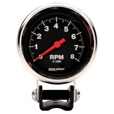 "Instrument Panel - Tachometer Gauge - AutoMeter - GAUGE, TACHOMETER, 2 5/8"", 8K RPM, PEDESTAL, TRADITIONAL CHROME - 2893"
