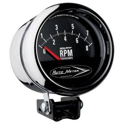 "Instrument Panel - Tachometer Gauge - AutoMeter - GAUGE, TACH, 3 3/4"", 8K RPM, PEDESTAL W/RETRO SHORT SWEEP, TRADITIONAL CHROME - 2897"